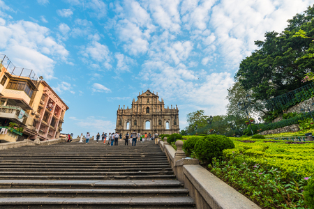 saint pauls cathedral: MACAU, MACAU - OCTOBER 22,2015 - Ruins Of Saint Pauls Cathedral. Built from 1582 to 1602 by the Jesuits. Was destroyed by a fire during a typhoon in 1835. Editorial