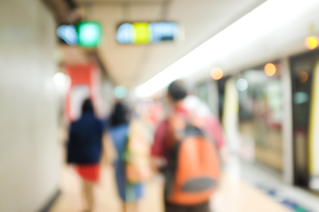 transit: Defocused and blurred image for background of hongkong MTR transit Stock Photo