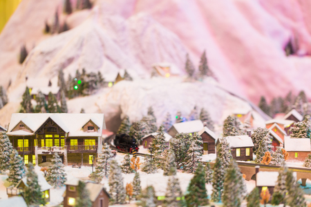 Miniature of winter scene with Christmas tree, Christmas concept.
