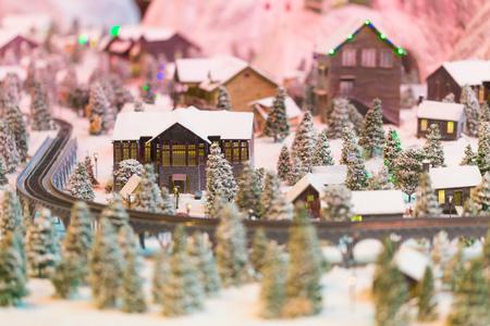 snowy winter scene of a small hamlet model, Merry Christmas Stock Photo