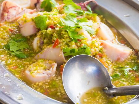 quid: Delicious spicy squid with egg, Seafood thai food Stock Photo