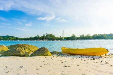 rentals: Kayak Rentals on the Beach, Kayak at the tropical beach Stock Photo