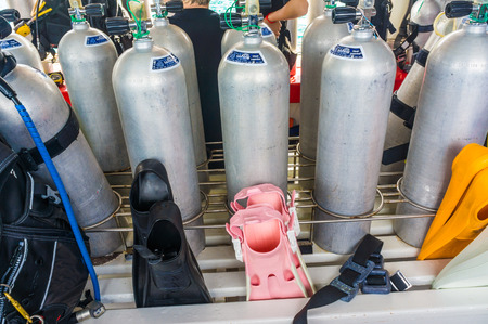 pressurized: Oxygen air Tanks and Gear for Scuba Diving in the sea
