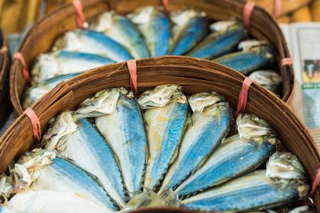 city fish market: Mackerel fish in basket at market, seafood market.