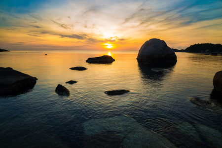 tao: Tropical beach at sunrise, Koh Tao, Thailamd