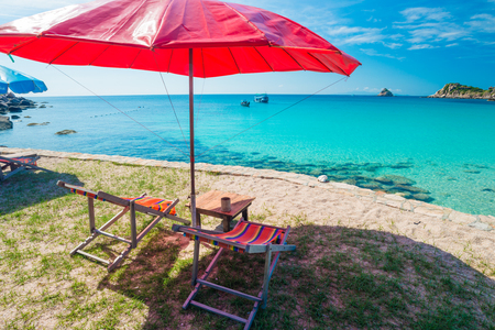 beach front: Beach chair with umbrella in seashore, Beach front seats