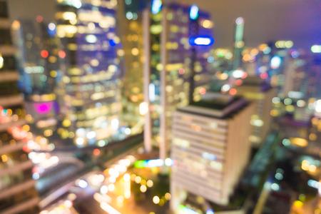 silom: Blured lighhts from modern city at Silom Bangkok, Thailand