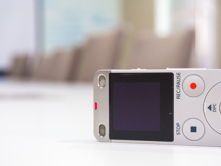 Dictaphone close up in meeting room, Business meeting concept Stok Fotoğraf