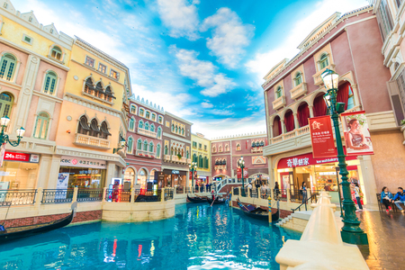 MACAU,CHINA - OCT 21:The Venetian Macao Resort Hotel on Oct 21, 2015 in Macau. The famous shopping mall attraction in Macau.