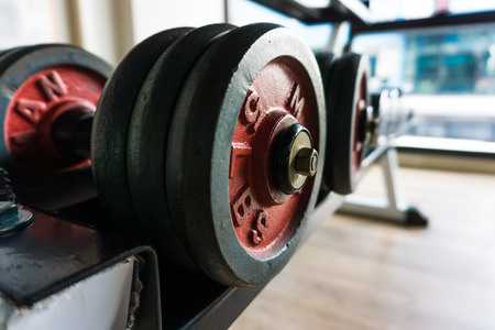 dumb bells: Dumb bells lined up in fitness room,  modern sports club.