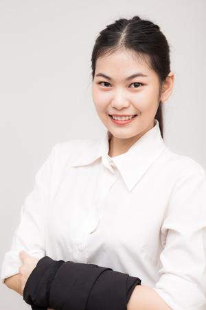 businesswoman suit: Smiling Asian Caucasian Business Woman. Clos up on face Stock Photo