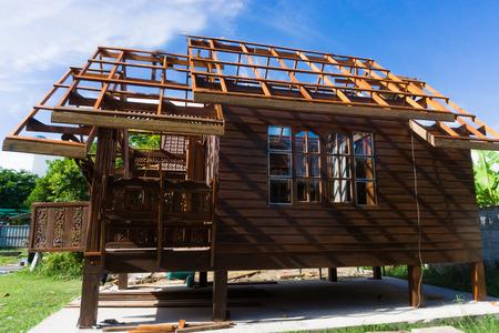 stilts: Building Thai style teak wood house, traditional teak house