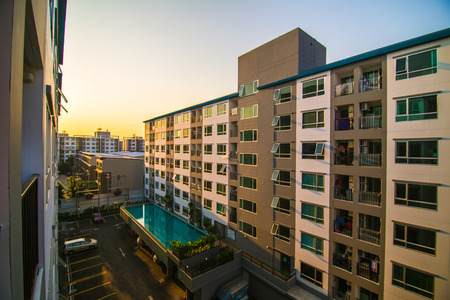 New modern Residential Apartment Block, Real estate in evening sunset