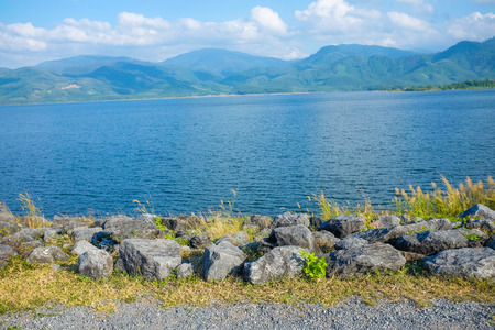 lakeside: Lakeside rural road. Blue sky