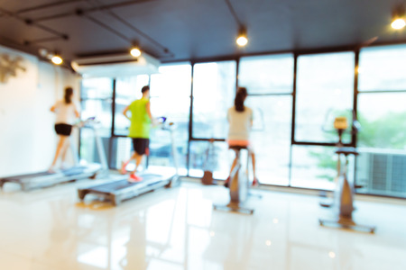 Abstract blur Modern fitness center with people, fitness gym background Stok Fotoğraf