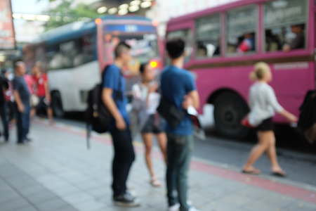 Blurred of crown people at bus station, Chatuchak, Thailand Stok Fotoğraf