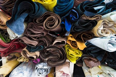 genuine leather: Color palette of genuine leather material. Group of genuine lether on shelf Stock Photo