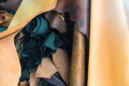 Color palette of genuine leather material. Group of genuine lether on shelf Stok Fotoğraf