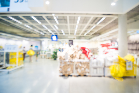 house ware: Abstract blur image of home mart department store with bokeh for background usage .