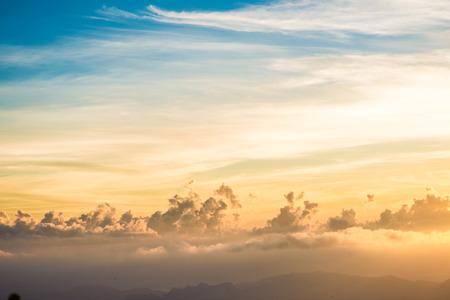 spectacular: Sunrise on spectacular mountains white cloud