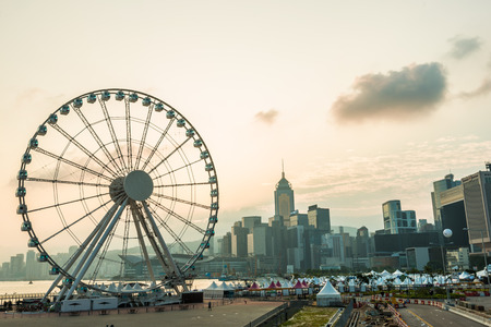 traded: HONG KONG, CHINA - OCT 23: Ferris wheel on October 23, 2015. Hong Kong dollar is the eighth most traded currency in the world.