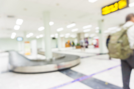 light duty: Terminal Departure Check-in at airport with bokeh, White blurred Stock Photo