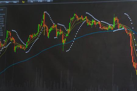 유행: 모니터에 주식 시장의 그래프를 표시, 주식 시장 가격 추이 스톡 콘텐츠