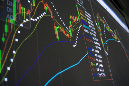 financial market: Display of Stock market quotes analysis financial concept Stock Photo
