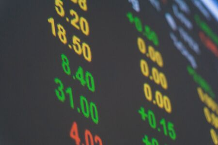 bid: Stock bid and offer financial data on a monitor, Finance data concept.