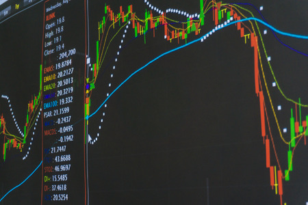 stock ticker board: Display Graph of Stock Market on Monitor, Stock market price trend