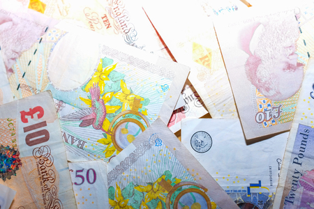 uk money: Sign of Brexit referendum UK money business object, Pound banknote Stock Photo
