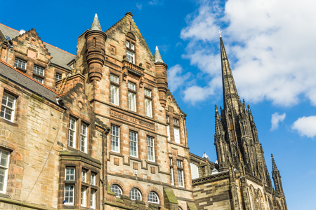 historical architecture: Castle wynd north historical architecture view of the city centre of Edinburgh, Scotland Editorial