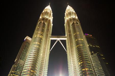 Uprisen night view of Petronas building, Kuala Lumper skyline