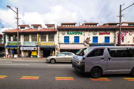 tekka: Singapore - August 11 2014: Little India district building in Singapore. Its Singaporean neighbourhood east of the Singapore River and commonly known as Tekka in the local Tamil community