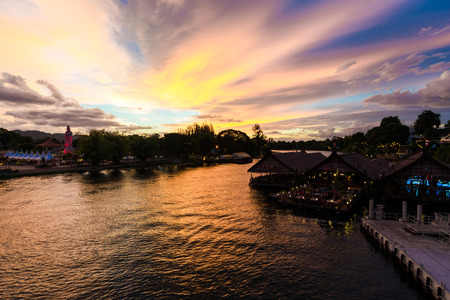 worl: Colorful sky sunset on the river kwai railway histry of worl war 2