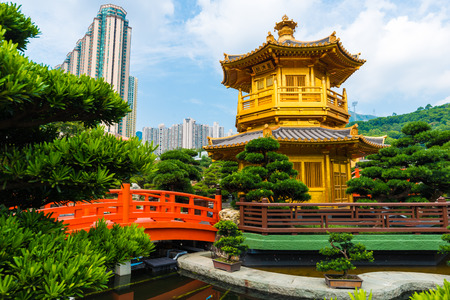absolute: Hongkong Temple Pavilion of Absolute Perfection in the Nan Lian Garden with river, Hong Kong.