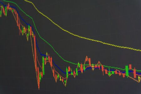 stock price quote: Candle stick graph chart of stock market investment trading, Background stock chart