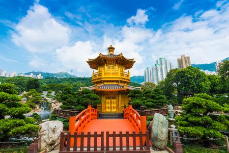 hongkong: Hongkong Temple Pavilion of Absolute Perfection in the Nan Lian Garden with river, Hong Kong.