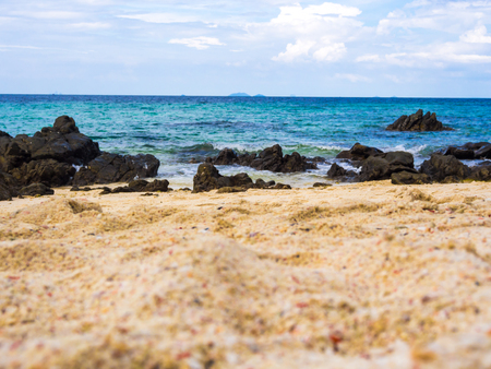 blue waters: Beautiful beach with crystal clear blue waters and rocky of the Andaman sea Stock Photo