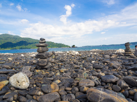 river banks: Pyramid of stones row on the beach, Lipe, Thailand