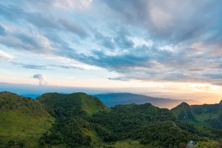 highland region: Summer sub alpine mountain in the Chiangmai highlands with cloud