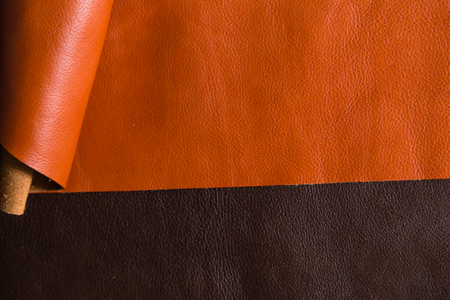 cuero vaca: Genuine cow leather background for craftsmanship working, Vegetable tanned leather Foto de archivo