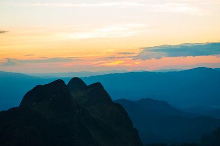 peak: Sunset in the peak of mountains