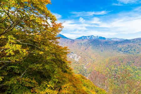 Mt.Nantai surrounded by autumn colours in Autumn, Oku-nikko, Tochigi, Japan Stock Photo
