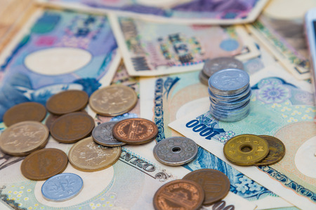 Many type of japan money currency, Note and coin JPY spread