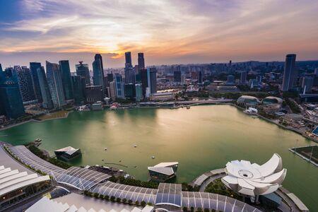 Singapore city skyline Marina Bay at sunset, Singapore  cityscape Editorial