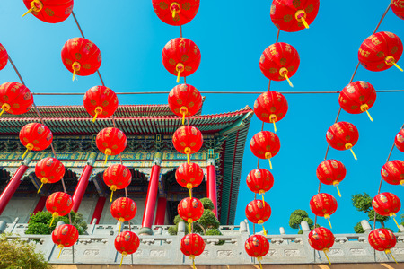 public domain: Chinese temple against blue sky in Thailand. They are public domain or treasure of Buddhism Stock Photo