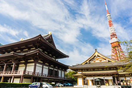View of Zojo ji Temple and tokyo Tower Blue sky, Tokyo, Japan.