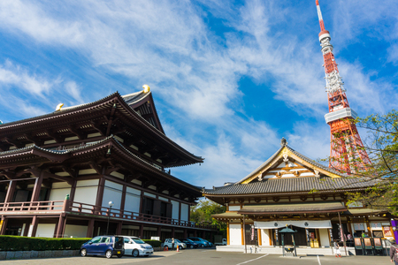 shinto: Zojo-ji Temple behide with Tokyo Tower in the Morning, Tokyo, Japan