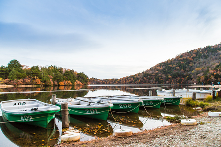 generic location: Boats at the pier of the Nikko park at autumn, Japan Stock Photo